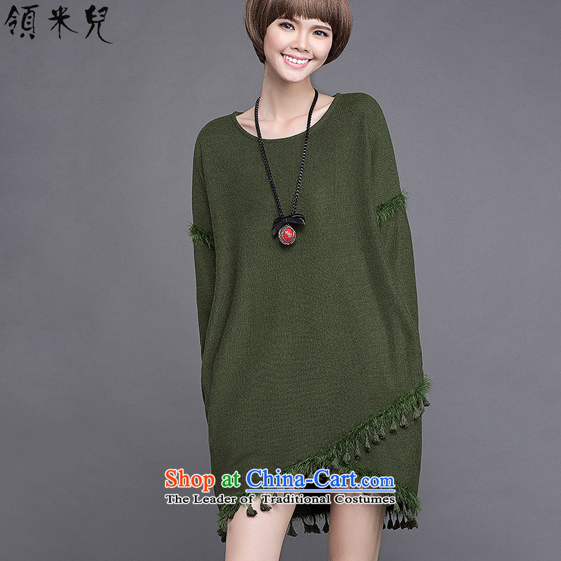 For M-to increase women's code 2015 Autumn new liberal mm thick, thin leisure wild graphics flow so long-sleeved sweater dresses S2048 Army Green 2XL