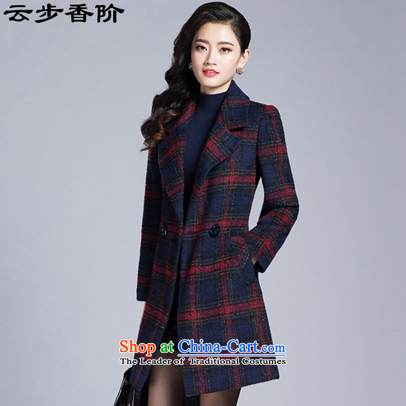 Step cloud of incense to 2015 autumn and winter coats gross New girl? Long tartan sub-jacket 1666 Red Grid燣