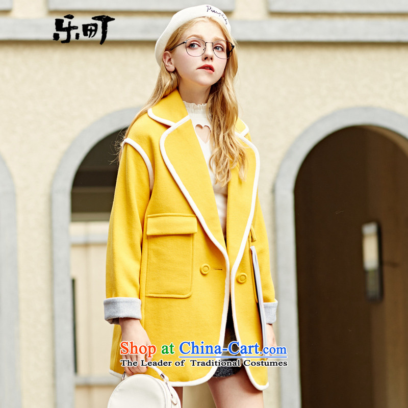 Lok-machi 2015 Autumn new gross jacket in long?_? a coat of hair color plane collision Korean autumn and winter clothesM_160 yellow