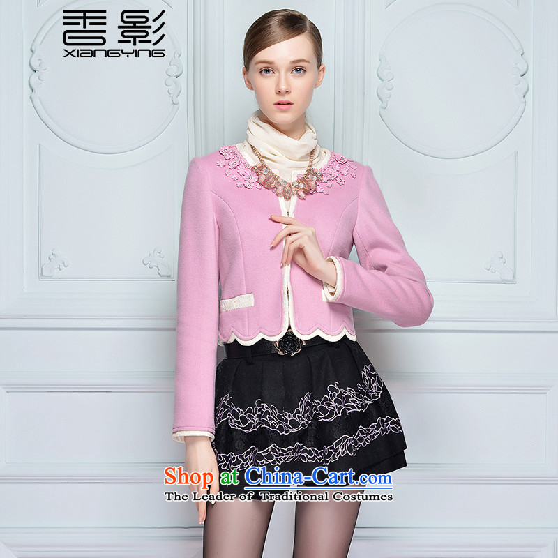 The Champs Elysees shadow gross shortage of female jacket? 2015 winter clothing new Lace Embroidery knocked color stitching long-sleeved a wool coat pink M