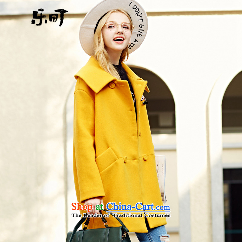 Lok-machi 2015 Autumn new gross jacket in long?_? coats Korean gross wild lapel of autumn and winter clothes聽M_160 yellow