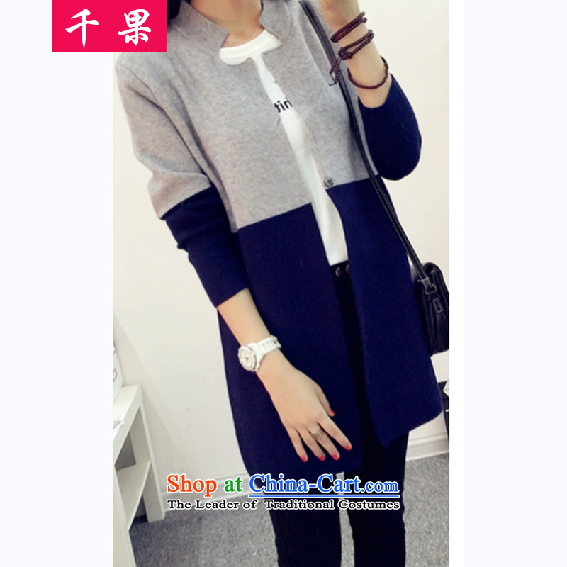 Thousands of fruit 200 catties thick sister in long cardigan knitwear autumn and winter new to increase women's code thick mm thin sweater coats of Sau San Graphics 5210 Light Gray + navy blue 3XL175-200 around 922.747
