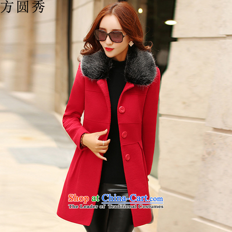Radius-soo gross girls coat? Long?2015 autumn and winter female Korean version of the new leader of the Sau San jacket is gross coats?received 8,433 female?red?XL