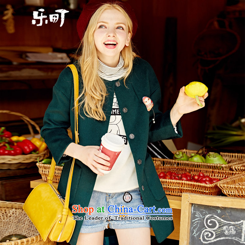 Lok-machi 2015 winter clothing new gross girls jacket? Long Korean wool a wool coat autumn and winter Wild Green S/155