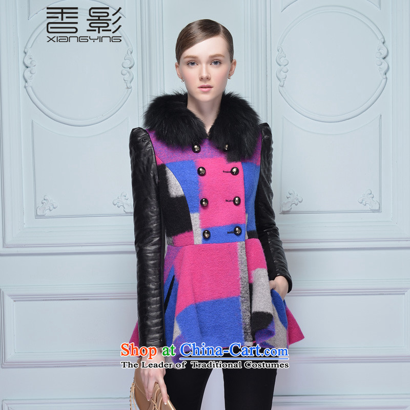 The Champs Elysees shadow gross flows of long-sleeved jacket? female 2015 new color box long plane collision gross for stitching for winter clothes plum燣
