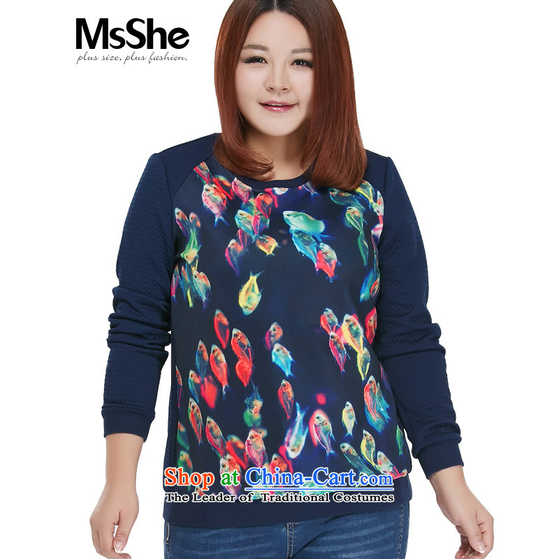 To increase the number msshe women 2015 new autumn Replacing ribbed stamp MM thick stitching Neck Sweater 10325 blue 4XL