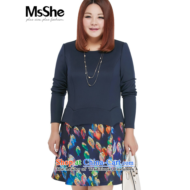 Large msshe women 2015 new autumn replacing minimalist stamp stitching thick MM leave two garment 10323 blue�L