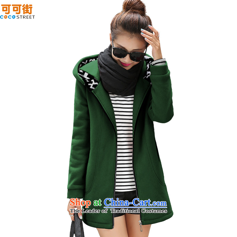 Cocoa Street Code women fall to intensify the jacket with sweater thick, Hin thin, T-shirt, long-MM thick, dark green燲XXXL