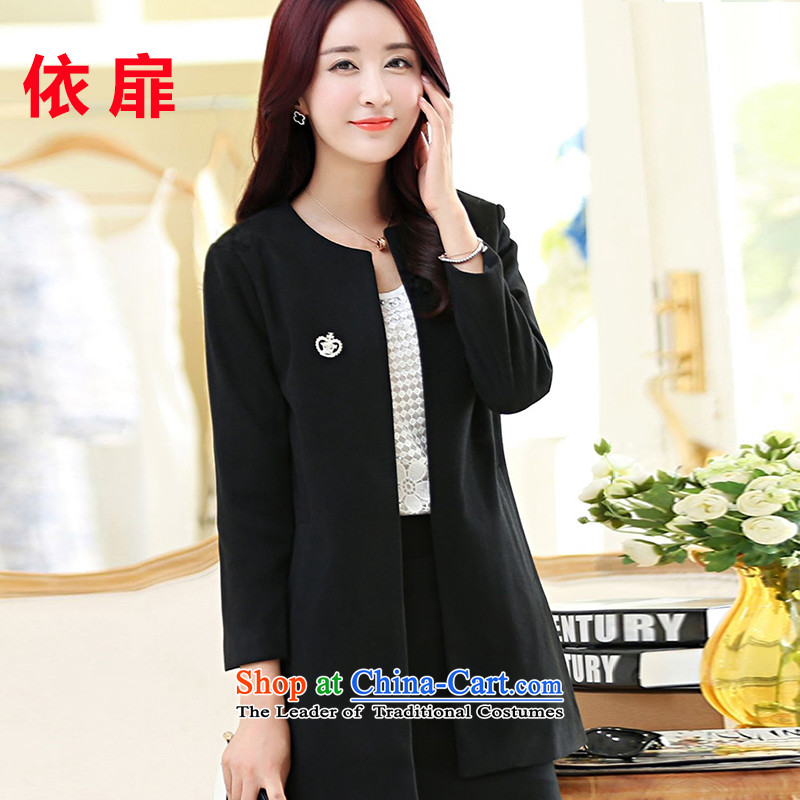 In accordance with the Korean version of solid color check a wool coat 2015 autumn and winter new temperament Sau San small incense wind jacket girl in gross? long black燲XXXL