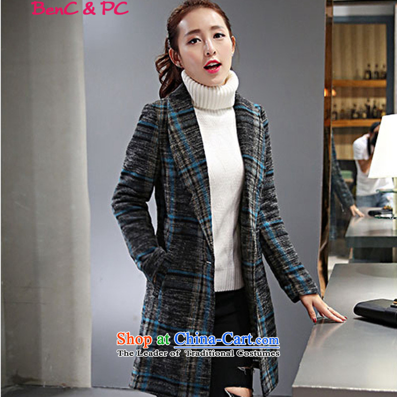 The Korean version of the new 2015 grid smart casual lapel graphics. Made from thin Long Hoodie gross coats autumn and winter? female blue,燲L