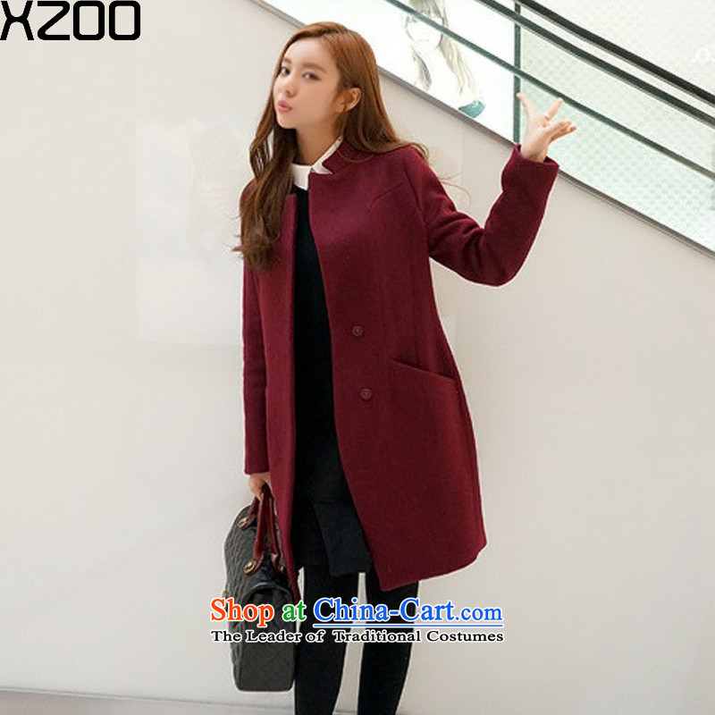 Gross coats women XZOO2015? new large winter in long Korean female jacket? gross wine red燬
