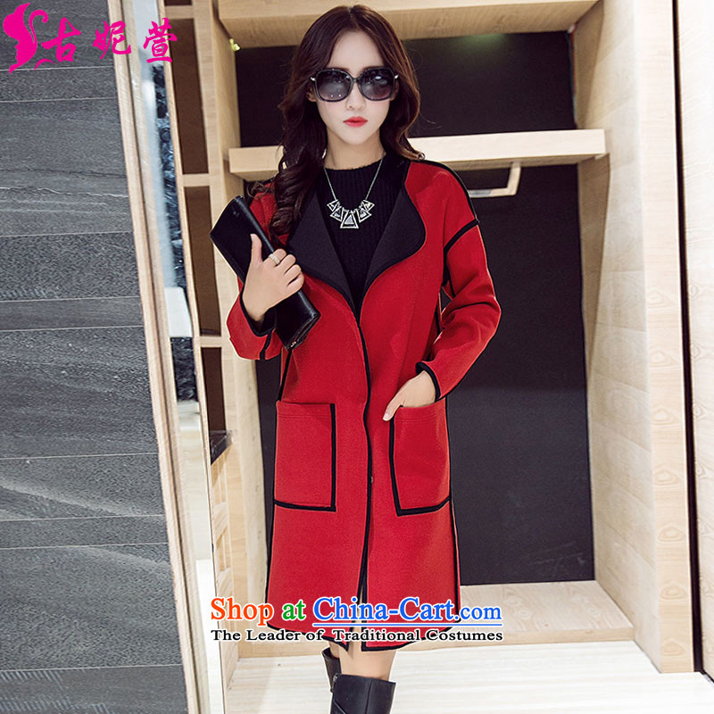 Mrs Jenny Xuan�15 autumn and winter in new women's long hair?   Graphics thin hair jacket coat red燬?