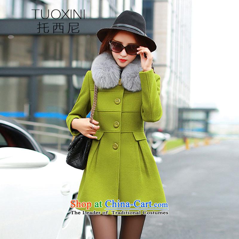 Tosini 2015 autumn and winter new Korean version for Sau San over the medium to longer term Gross Gross Jacket coat? female 1,036 mine-green?M