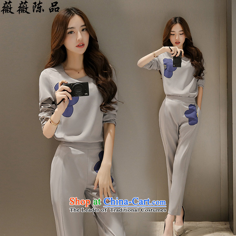 Weiwei Chen No. 2015 large female kit autumn new stylish stamp long-sleeved two kits career pant female 8,850 light gray M