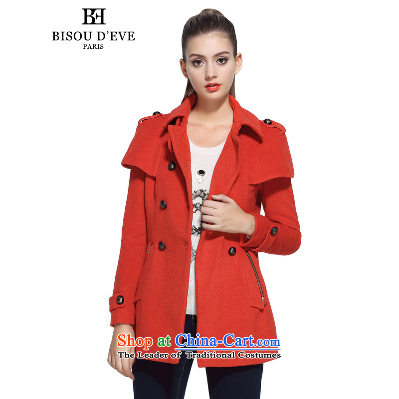 Mrs Diana be 2015 Pik autumn new uniform funnels top small parties for double-in long-sleeved jacket coat_? Long Female BFFA023450 orange燤
