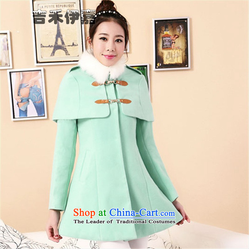 Gil Wo Ika autumn and winter new products in the thick hair? jacket long Korean Sau San double-cloak wool a wool coat female, with two kits can be removed for gross mint green?M93-103