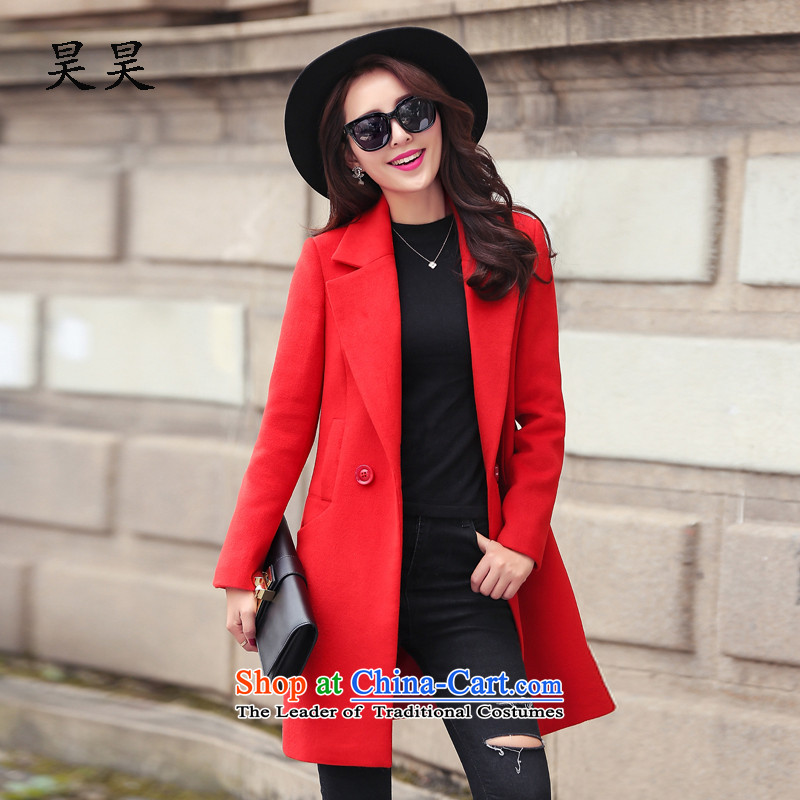 Ho ho�15 autumn and winter new Korean female coats of Sau San Mao? in the medium to long term, in gross? jacket female RED燤