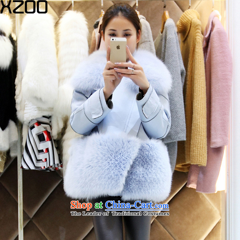 Gross coats women XZOO2015? new large winter clothes for long, gross fur coat female light blue M