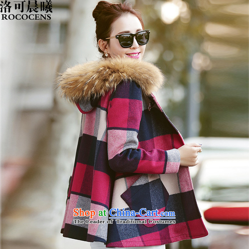Sun Hei tofall and winter 2015 new)? In coats long hair? jacket compartments gross? coats of Sau San#25211 femalepinkL