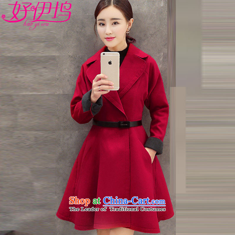 Good docking gross? coats of female COAT 2015 autumn and winter new Korean version in the Sau San long wool a wool coat 609 wine red M