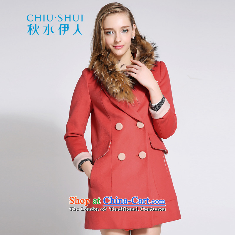 Chaplain who winter clothing new women's stylish warm in gross long coats? removable gross for orange red160_84A_M scarf