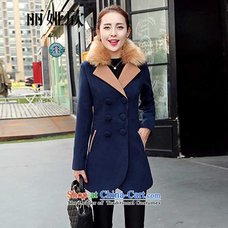 , Julia welcomes the 2015 autumn and winter female Korean female coats gross? Simple casual Wild hair for long long-sleeved jacket is pure color coat 9523 female navy M