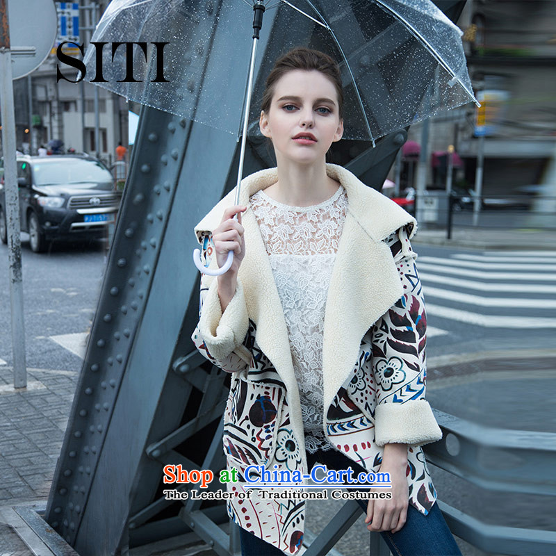 The new 2015 autumn and winter woolen coat female autumn and winter loose emulation lamb jacket lapel retro stamp suede windbreaker wool coat in the long Korean聽M_160