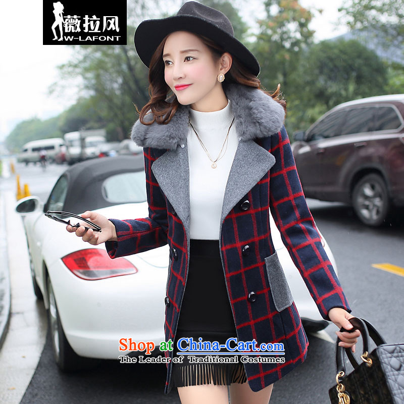Vera wind 2015 winter new Korean wool commuter OL a really lapel collar gross large compartments spell in warm color thick long coats jacket gross? female Red, M
