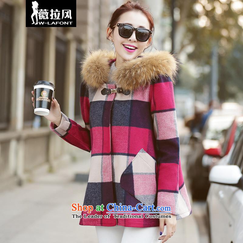 Vera wind 2015 Autumn New_ Korean cloak knots gross coats stylish girl? graphics thin cap long-sleeved commuter wild woolen coat of winter coats of female RedM