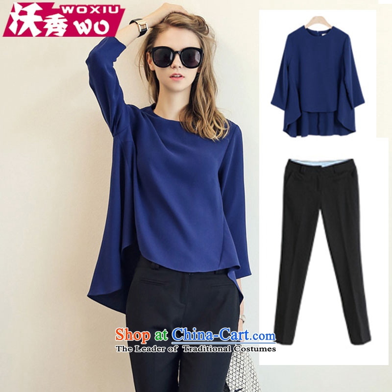 Kosovo-soo?new early autumn 2015 kit stylish girl temperament large relaxd clothes 9 leisure wears pants women?1590?Blue (Boxset) XXL