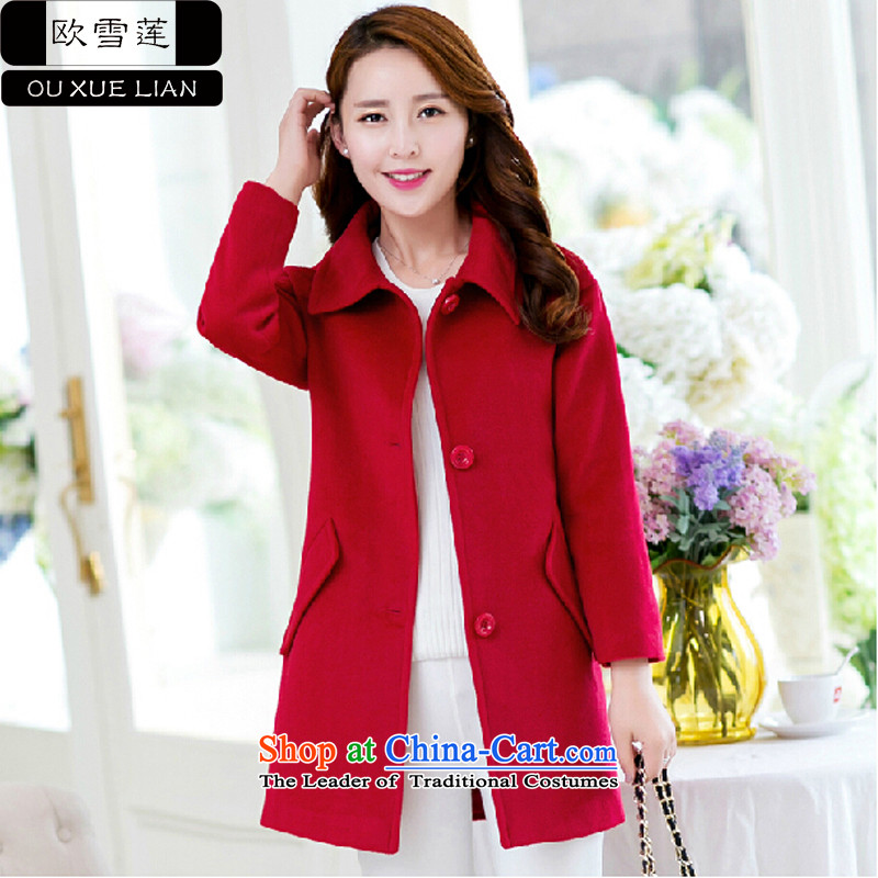 Shirley Europe 2015 Fall_Winter Collections new stylish Sau San in gross? jacket long Korean female red cloak gross? L