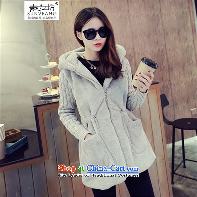 Motome workshop for larger female thick sister to thick coat 2015 Fall/Winter Collections new to intensify the thick cotton jacket thickness sister 069 gray 5XL recommended weight 170-200 catty
