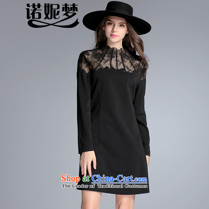 The Ni dream new) Autumn 2015 Europe to increase women's burden of code 200 mm thick temperament lace stitching Sau San dresses j8088 long-sleeved black XXXL