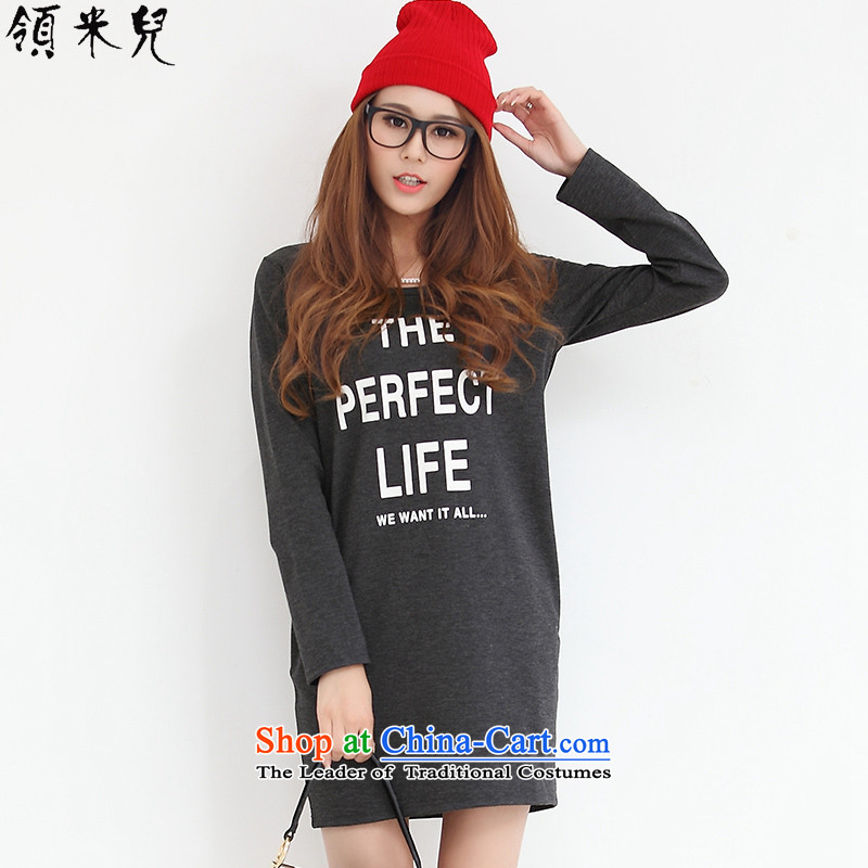 For M-?2015 to increase the number of women in the autumn of new expertise mm loose video thin letter stamp forming the long-sleeved gray skirt?XL