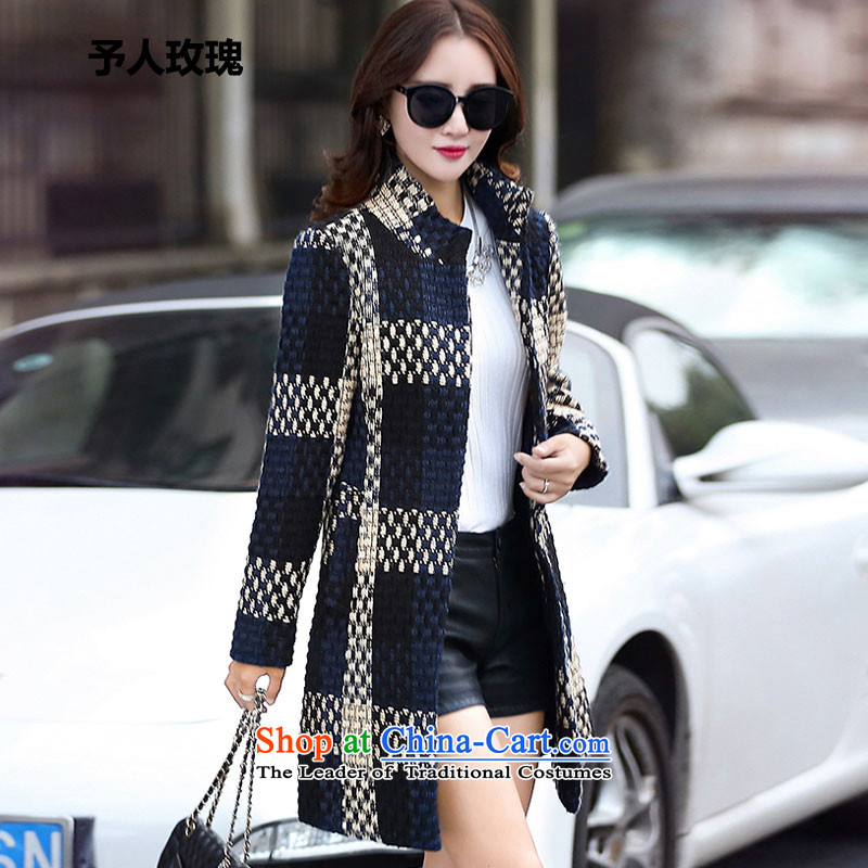 The rose to the 2015 autumn and winter new Korean female coats of Sau San Mao? stylish lapel thin graphics long-sleeved commuter wild blue jacket, L