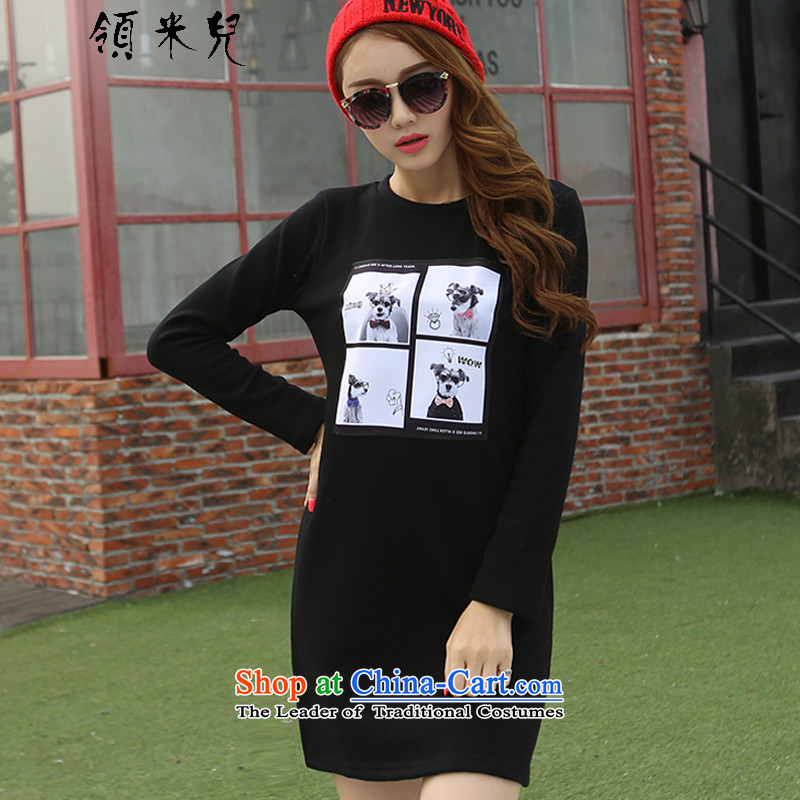 For M-�15 to increase the number of women in autumn and winter new Korean Version Stamp thick mm loose video thin dresses in long-lint-free warm sweater, forming the thick black 3XL 1351