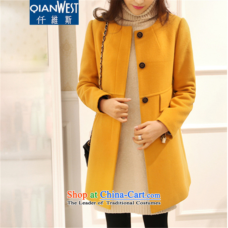 The Scarlet Letter, larger female thick sister wild COAT�15 autumn and winter to increase women's code in sister thick long thin hair? jacket graphics 071�L turmeric yellow�0-225 recommended weight catty