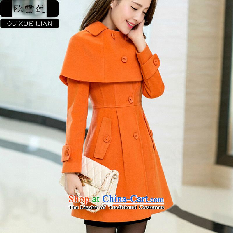 Shirley Europe 2015 Fall_Winter Collections new stylish Sau San cloak? In gross jacket long Korean female coats gross? orangeL