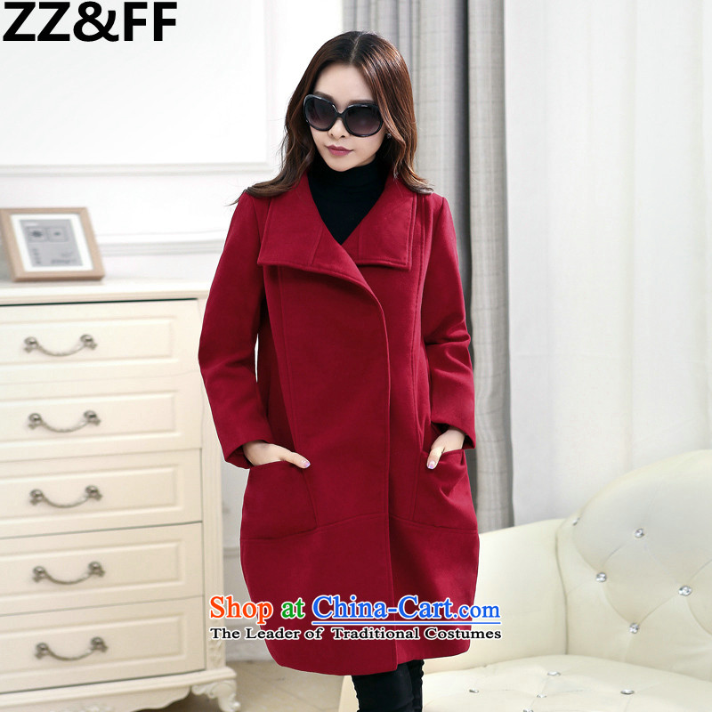 2015 Autumn and winter Zz_ff cocoon-trendy new coats jacket in gross? long large relaxd a wool coat燲L_ wine red 135-150 recommended catty_