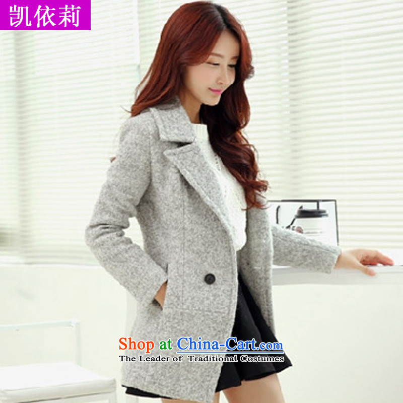 The wounds of Sau San Gross Kai? Long girls COAT 2015 autumn and winter new thick Korean edition suits washable wool a wool coat toward the light gray M