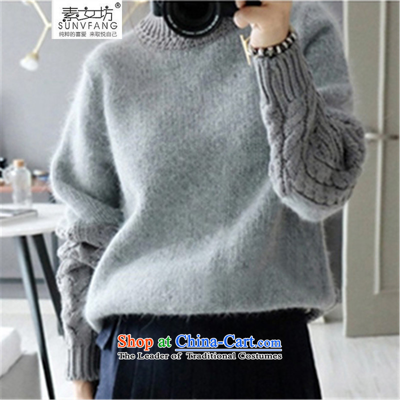 Motome workshop for larger female thick sister 2015 autumn and winter large female Korean wild knitwear MM thick and thick sweater 065 Gray 4XL recommended weight 160-180 catty