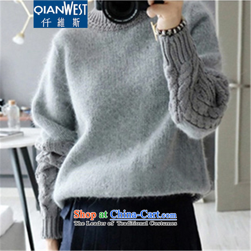 The Scarlet Letter, thick sister larger sweater  2015 autumn and winter large female Korean wild knitwear MM thick and thick sweater 065 Gray 4XL recommendations 160-180, 250 weight (QIANWEISI) , , , shopping on the Internet