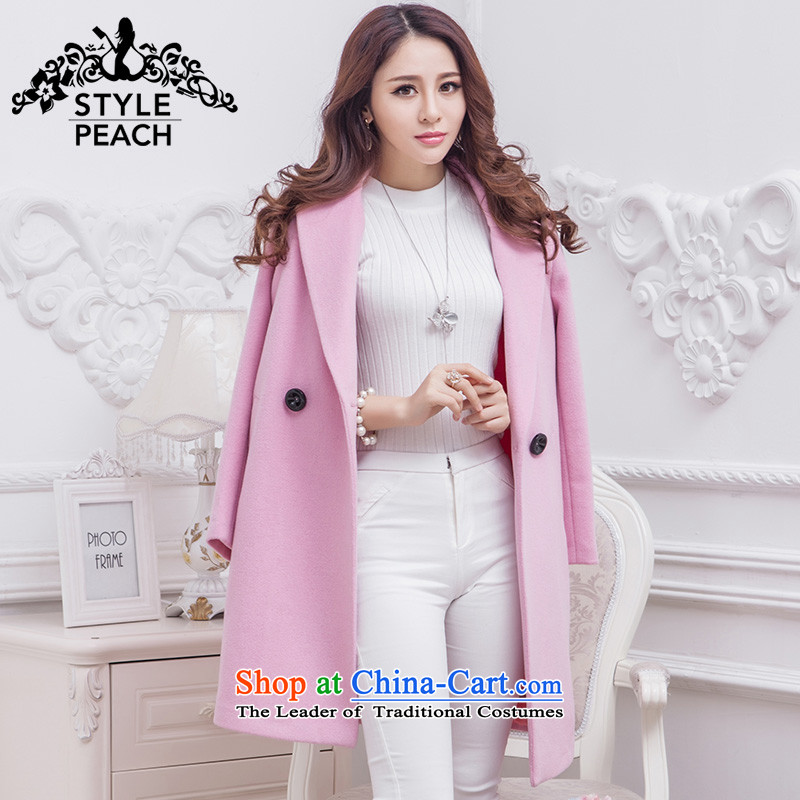 Commercial Beauty? female 2015 gross jacket Korean autumn and winter in Sau San video thin long woolen coat gross a pink jacket聽M