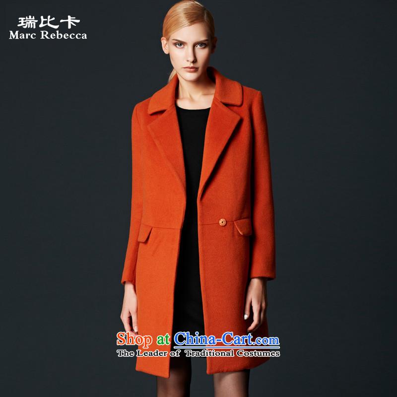 Labortex card brands? 2015 autumn and winter coats new commuter OL van wool overcoats female orange?燬