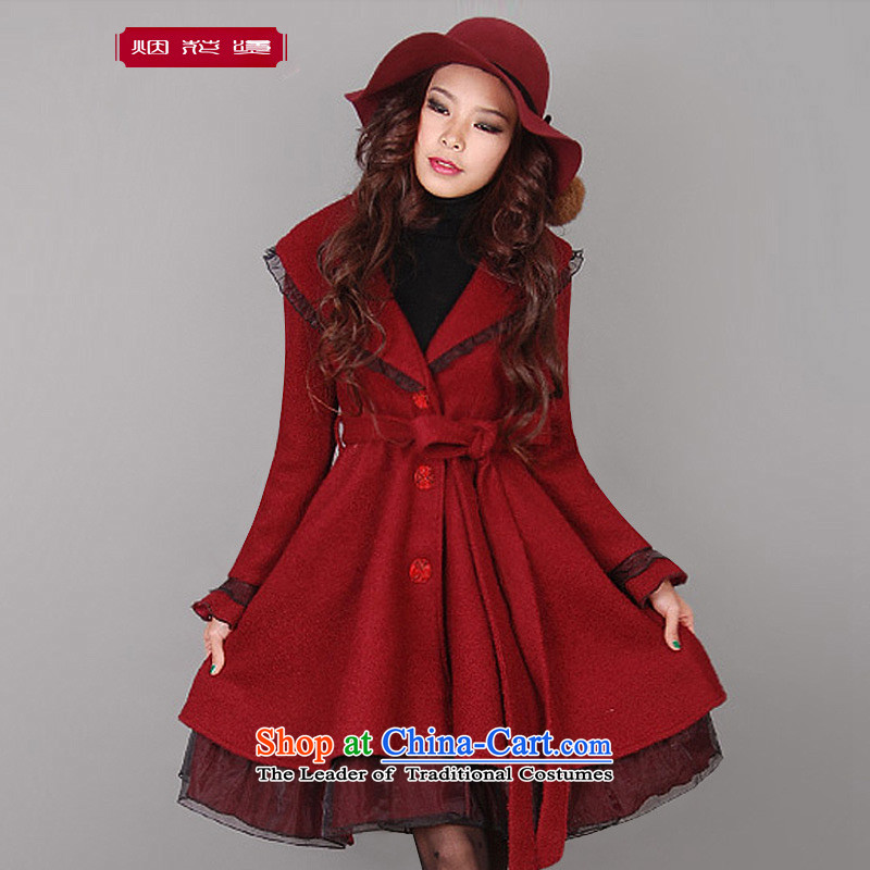 Fireworks Hot Winter 2015 new original female temperament, long-Sau San gross jacket coat it by the End Of Flora Season wine red燤 spot