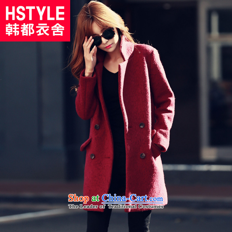 Korea has the Korean version of the Dag Hammarskjöld yi 2015 winter clothing new products female youth solid color graphics thin, long jacket IG4524 gross? restaurant wine red M