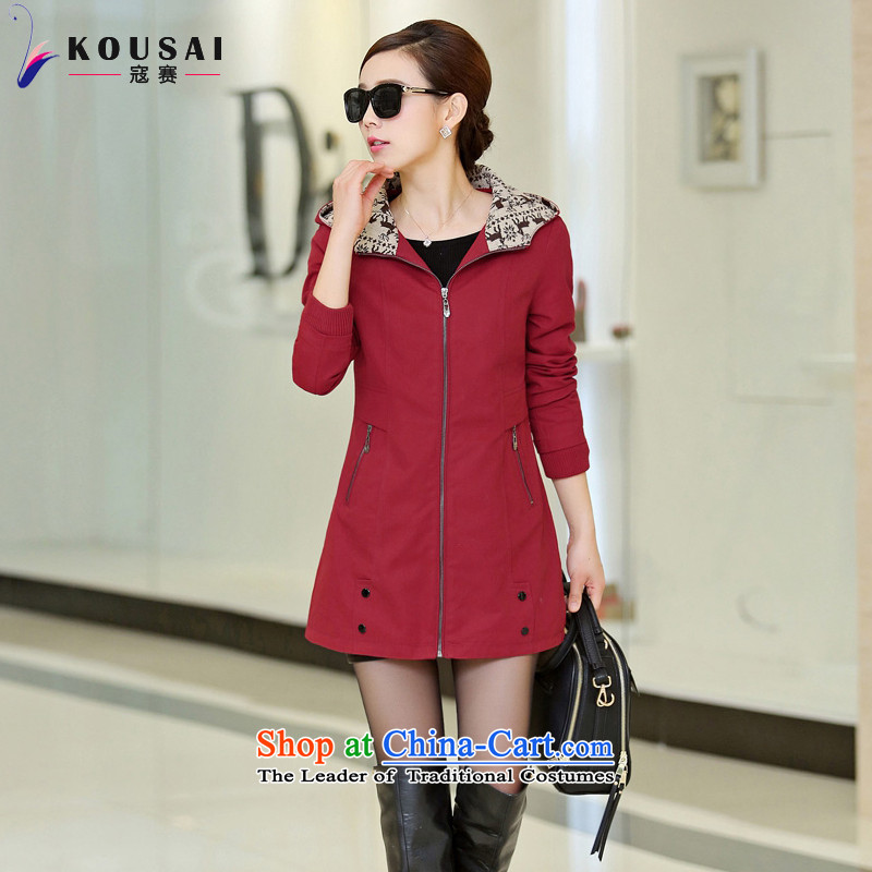 In 2015, the largest number Kou Women Fall_Winter Collections new to intensify the thick mm windbreaker and long for women video thin F6462 jacket, wine red2XL