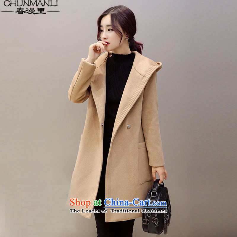 The spring of�15 the new definition of autumn and winter new cocoon-long hair a wool coat female hair? jacket female khaki燤
