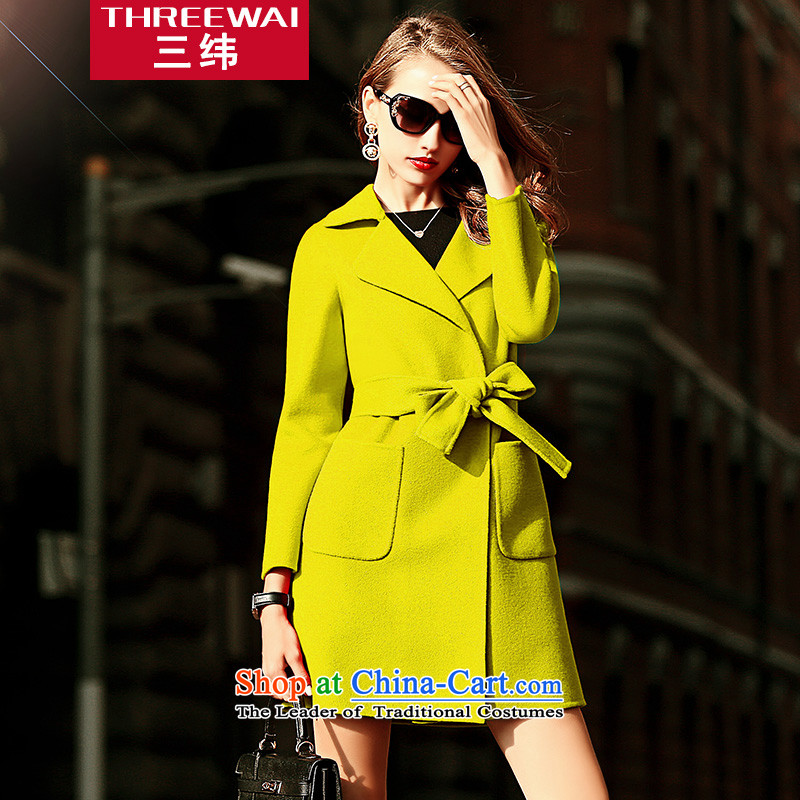 Three courses 2015 autumn and winter new high-end gross? female jacket Sau San video thin double-sided cashmere plain manual woolen coat jacket female mustard yellow S