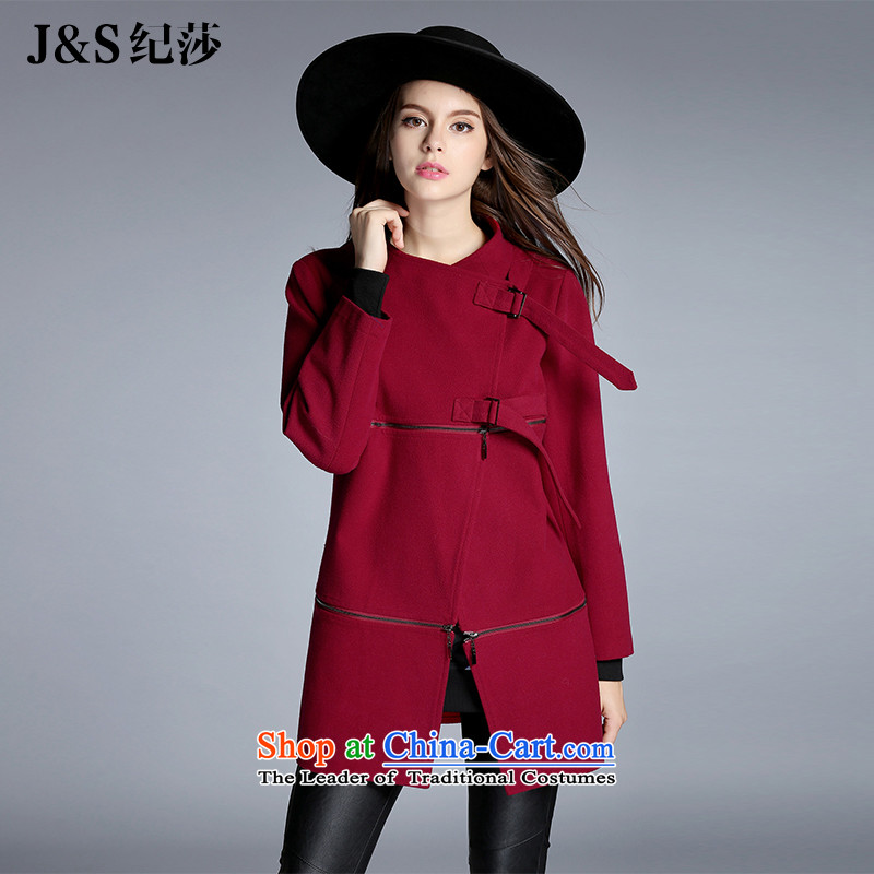 Elizabeth 2015 Western brands and discipline for larger female thick mm Fall_Winter Collections new Korean cloak a wool coat xl jacket燩Q6028- gross?�L wine red